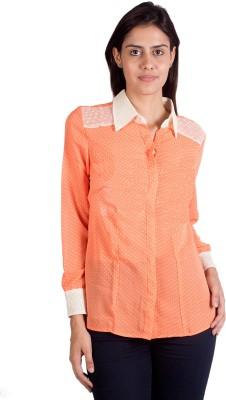 Ebry Women's Polka Print Casual Orange Shirt