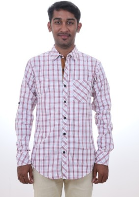 GM Fashions Men's Checkered Casual Red Shirt