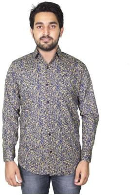 Mangue Men's Printed Casual Yellow Shirt