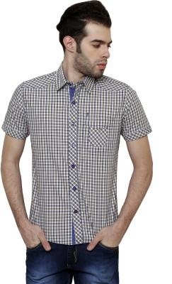 True Tittos Men's Checkered Casual Beige, Dark Blue, White Shirt