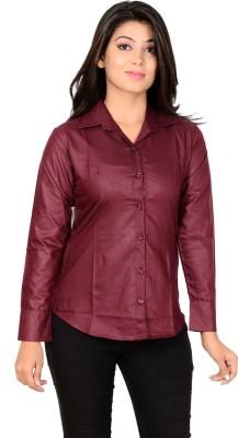 Jazzy Ben Women's Solid Formal Maroon Shirt