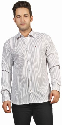 P4 Men's Striped Casual Black, Purple Shirt