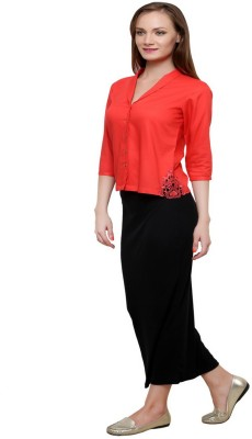 At By Taruna Women's Solid Casual Red Shirt