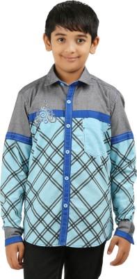 Cub Kids Boy's Printed Casual Grey, Light Blue Shirt