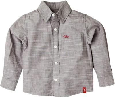 Oye Boy's Solid Casual Grey Shirt