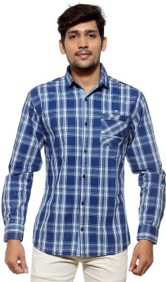 FIFTY TWO Men's Checkered Casual Dark Blue Shirt