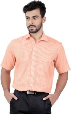 Zeal Men's Striped Formal Linen Orange, White Shirt