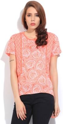 Lee Women's Printed Formal White, Orange Shirt at flipkart