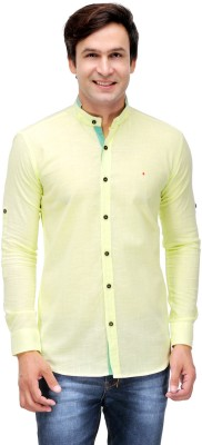 Nexq Men's Solid Casual Linen Yellow Shirt