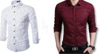 Glamdoll Formal Shirts (Men's) - Glamdoll Men's, Boys Solid Formal Multicolor Shirt(Pack of 2)