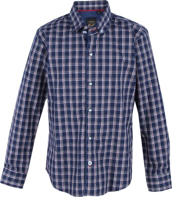 Gini & Jony Boy's Checkered Casual Dark Blue Shirt