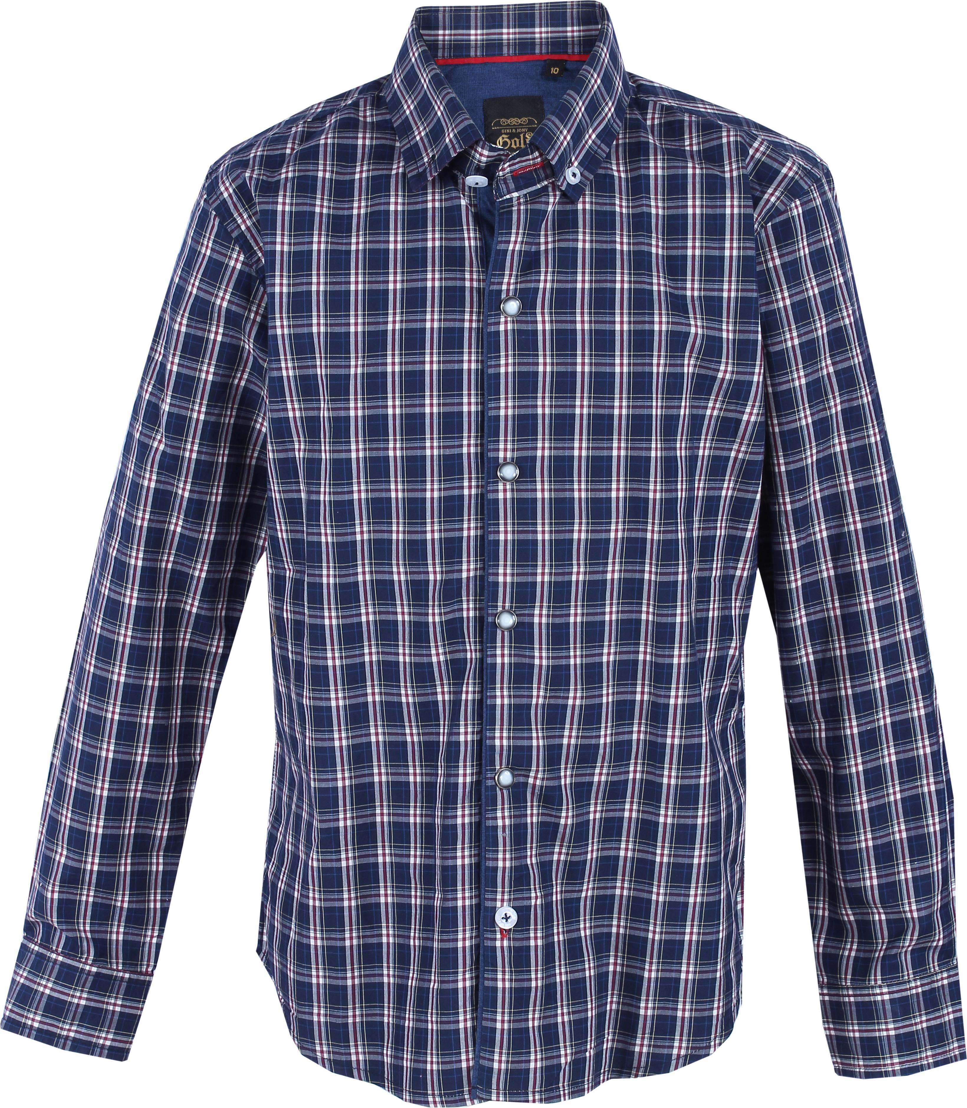 Gini & Jony Boys Checkered Casual Dark Blue Shirt