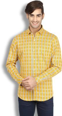 Goodkarma Men's Checkered Casual Beige Shirt
