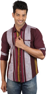 Le Tailor Men's Striped Casual Maroon, Red Shirt
