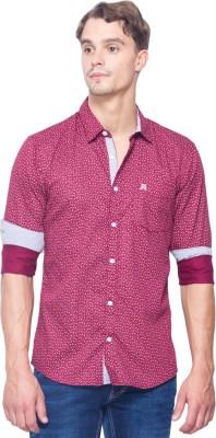 Shield & Sword Men,s Printed Casual Pink Shirt