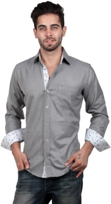 S9 Men's Solid, Woven, Printed Casual, Party, Festive Grey, White, Black Shirt