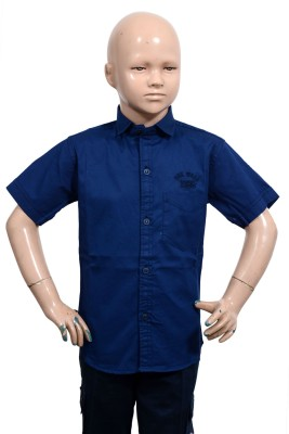 Puppet Nx Boy's Solid Casual Blue Shirt