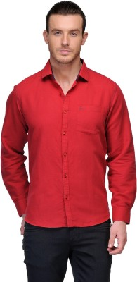 Canary London Men's Solid Casual Linen Red Shirt