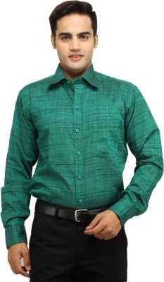 Crocks Club Men's Solid Formal Green Shirt