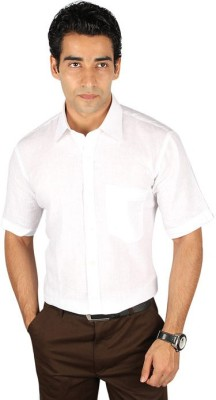 Royal Kurta Men's Solid Formal White Shirt