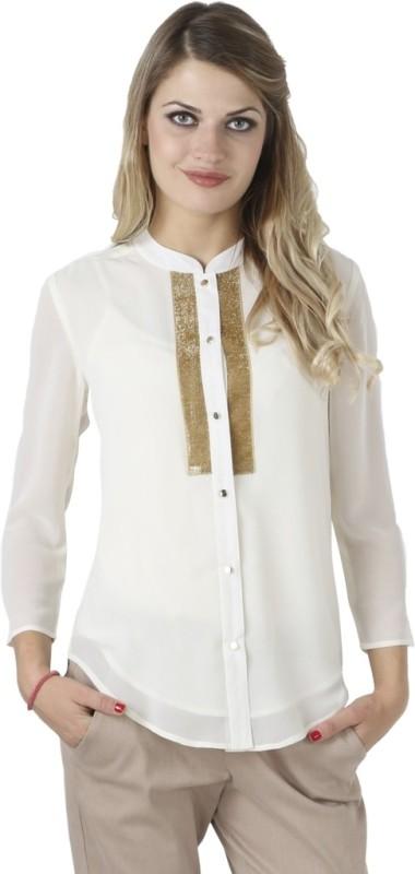 Iralzo Women's Solid Casual White Shirt