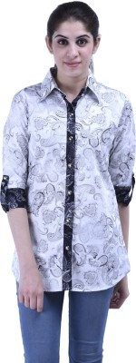 Aarr Women,s Printed Casual White Shirt