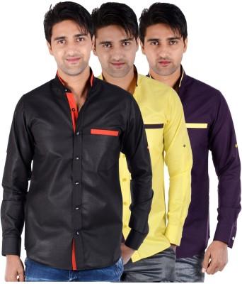 S9 Men's Solid Casual Black, Yellow, Purple Shirt