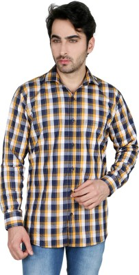 Being Friends Men's Checkered Casual Black, Yellow Shirt