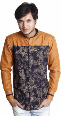 Saraul Men's Floral Print Casual Blue Shirt