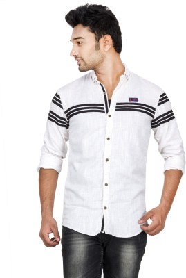 Loopy Men's Striped Casual White, Black Shirt