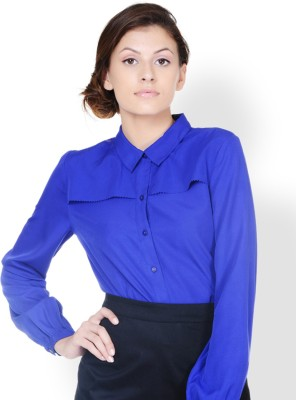 Pera Doce Women,s Solid Formal Blue Shirt