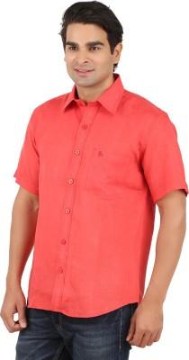 GM Men's Solid Formal Linen Red Shirt