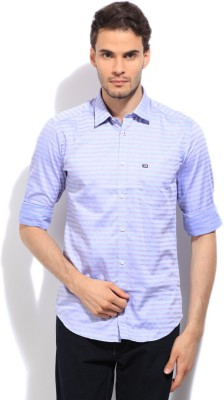 Arrow Sports Men's Striped Casual Blue Shirt