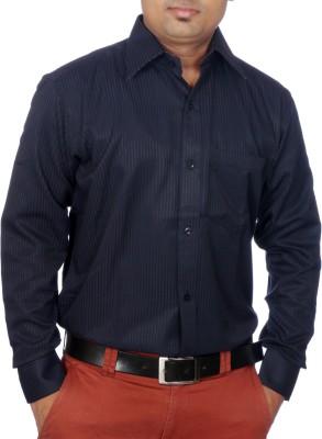 AADUKI Men's Striped Formal Blue Shirt