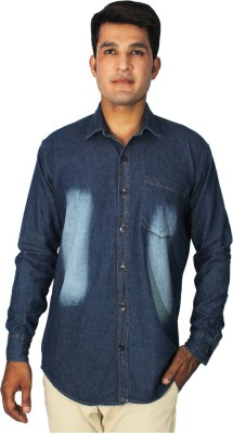 China Collection Men's Self Design Casual Denim Blue Shirt
