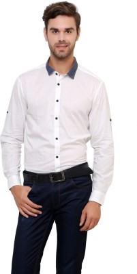 Azo Men's Printed Casual Denim White Shirt