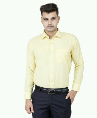Smoky Men's Solid Formal Yellow Shirt