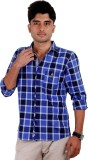 West Flax Men's Checkered Casual Blue Sh...