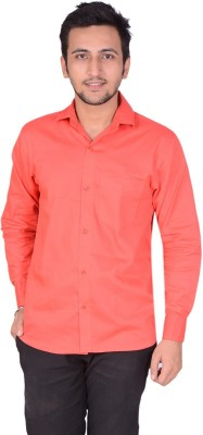 Rank Men's Solid Casual Red Shirt
