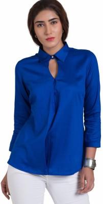 The Office Walk Women's Solid Formal Blue Shirt