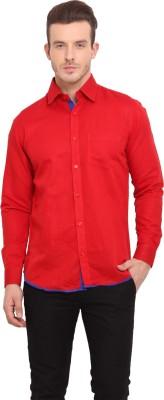 Ennoble Men's Solid Casual Linen Red Shirt