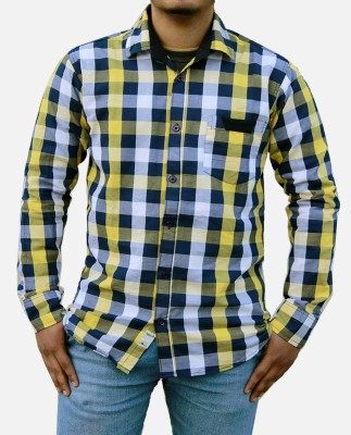 Yzade Men's Checkered Casual, Formal Yellow Shirt