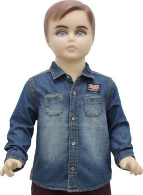 Urban Forest Boy's Solid Casual Denim Blue Shirt