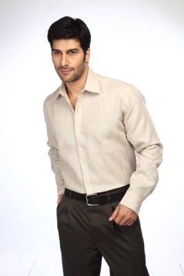 Color Plus Men's Solid Casual Linen Beige Shirt