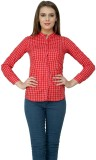99 Hunts Women's Checkered Casual Red Sh...