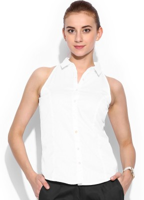 Mast & Harbour Women's Self Design Formal White Shirt