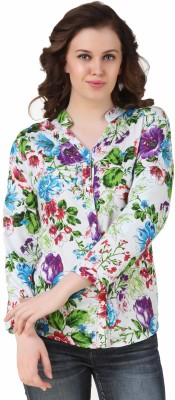 APW Women's Floral Print Casual, Party, Sports, Beach Wear, Festive, Lounge Wear White Shirt
