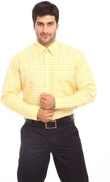 ColorPlus Mens Striped Casual Yellow Shirt
