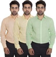 Deekshavastra Formal Shirts (Men's) - Deekshavastra Men's Solid Formal Green Shirt(Pack of 3)