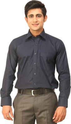 Seven Days Men's Self Design Formal Dark Blue Shirt